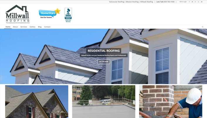 WordPress Web Design millwall roofing