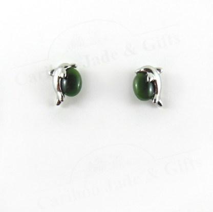 Jade dolphin earrings