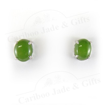 BC nephrite jade sterling silver cabochon earring