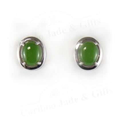 BC Nephrite jade sterling silver bezel earring