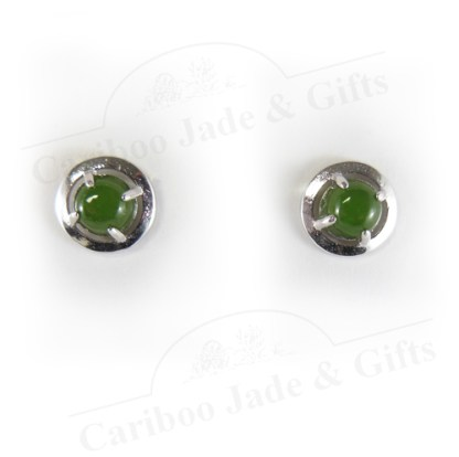 BC jade round sterling silver earrings
