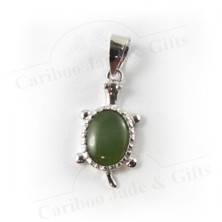sterling silver turtle pendant with BC jade cabochon