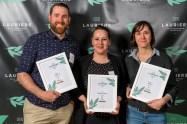 Trois des cinq nommés dans la catégorie Sommelier de l'année : Marc Lamarre (Le Clocher Penché), Émily Campeau (Candide) et Véronique Dalle (Moleskine)