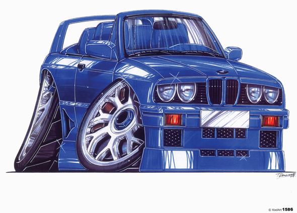 BMW E30 Cabriolet Bleue