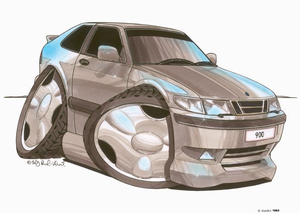 Saab 900 Coupé Grise