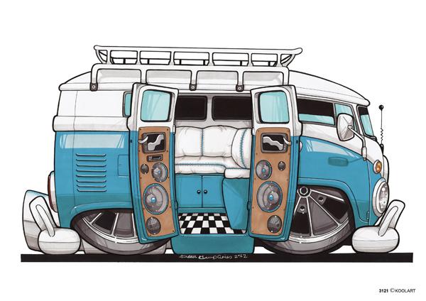 VW Combi Ouvert Bleu