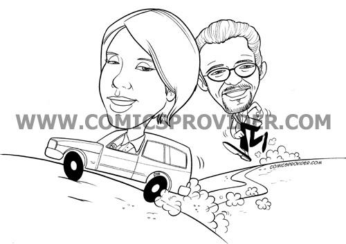 Caricatura per partecipazione lei in macchina scappa da lui!