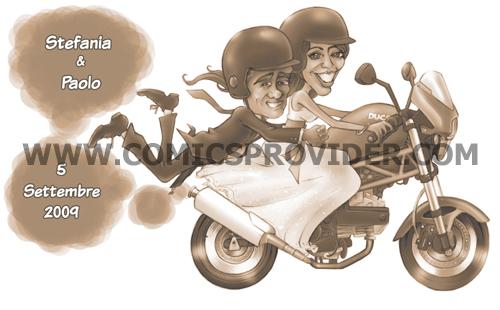 Caricatura realizzata partendo dalle foto degli sposi (e della moto ducati) per la loro partecipazione di nozze.