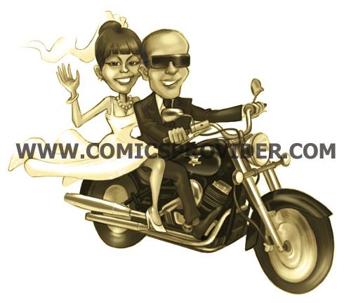 Quando gli sposi viaggiano solo su una Harley, ecco che intervengono i nostri disegnatori...