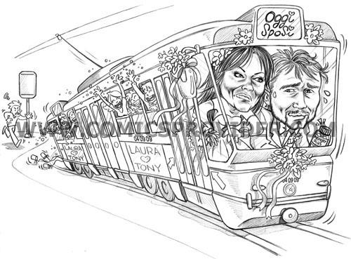 sposi sul tram