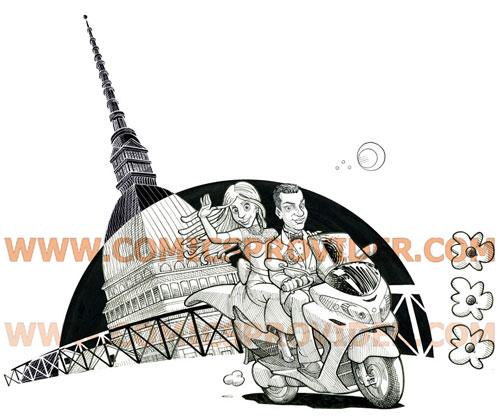 Sposi in stile tratteggiato, sullo sfondo la Mole Antonelliana