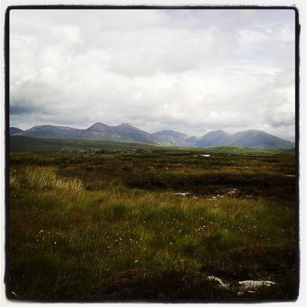 Bog in Cashel, Connemara with mountains in the background