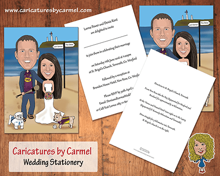 Caricature wedding invitations created by Caricatures by Carmel