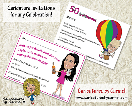 Caricature invitations for a party and celebration by Caricatures by Carmel