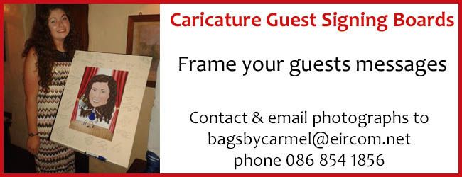 Frame your guests messages with a caricature guest signing board