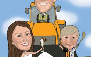 Wedding caricature with a JCB