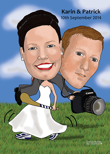 Caricature of a bride carrying the groom over her shoulder.