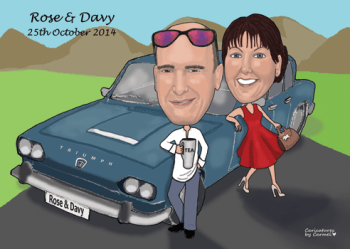 Caricature of bride and groom with a classic car