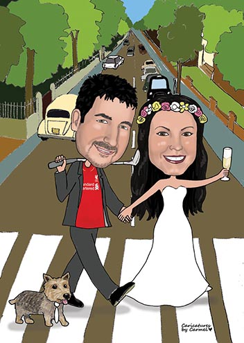 Bride & Groom walking across the Beatles Abbey Road caricature