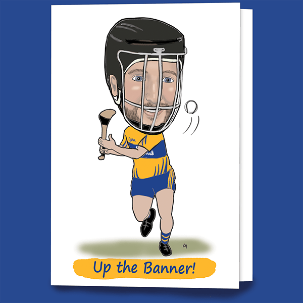 Clare hurling greeting caricature card