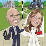 Bride & groom caricature with tractor and church in the background. The bride reading a book and the groom with his laptop.