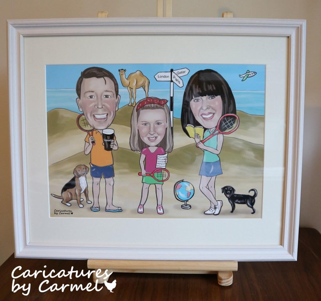 Framed family Caricature gift