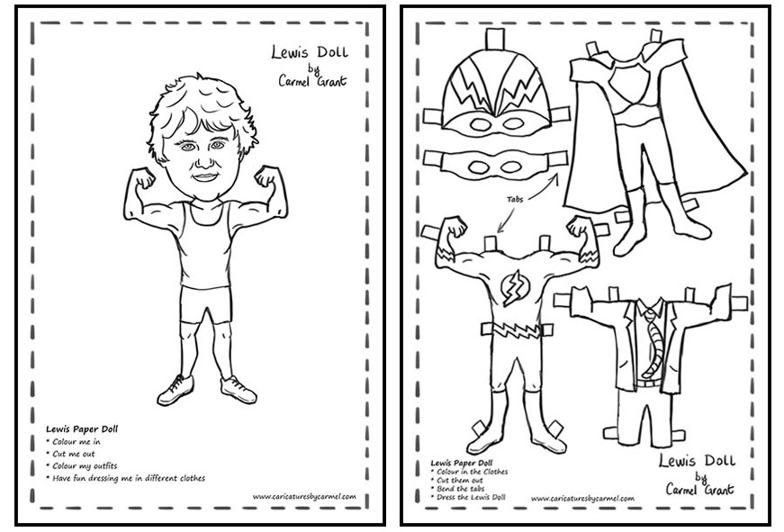 Lewis Paper Doll created by Caricatures by Carmel