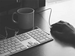 Keyboard, coffecup