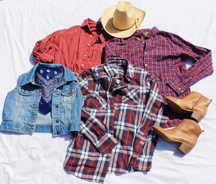 flannels, jean jacket, hat, and boots for farmer and cowboy costumes