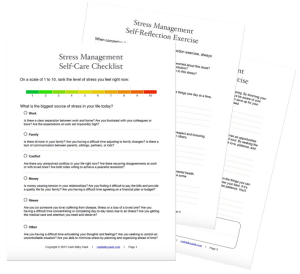 Stress Management Self-Care Checklist and Self-Reflection Exercise