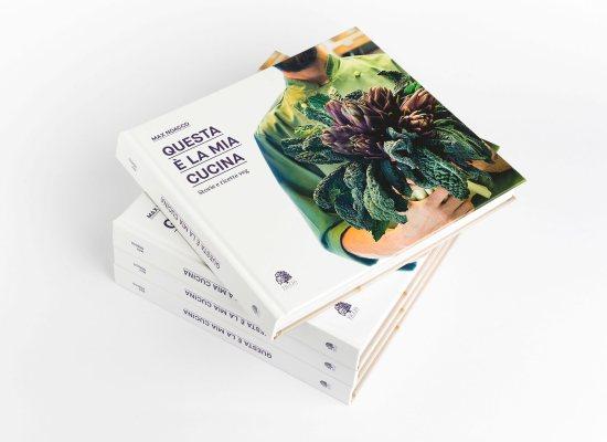 Questa è la mia cucina, libro di cucina vegana di Max Noacco, progetto grafico di Carin Marzaro. Veg cooking book, graphic design by Carin Marzaro