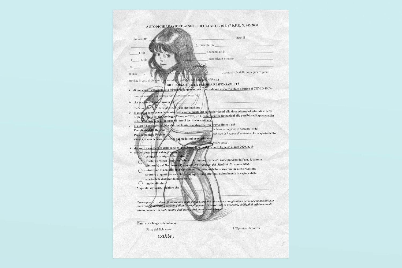 Autocertificazione illustrata, illustrazione di Carin Marzaro
