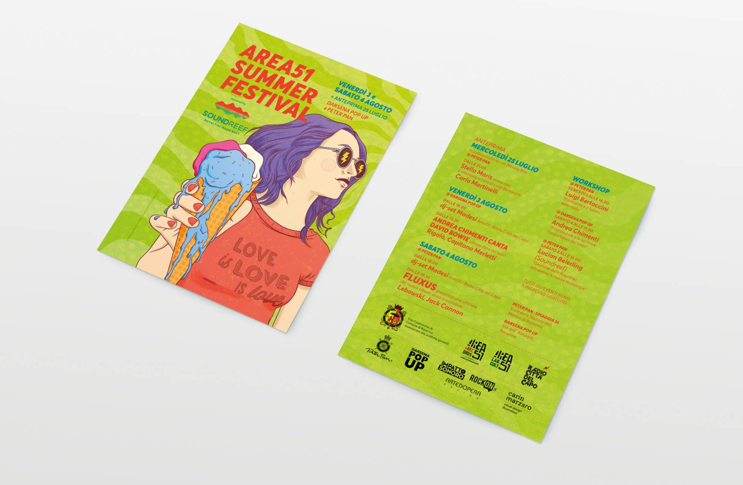 Area 51 Summer Festival, illustrazione e graphic design by Carin Marzaro
