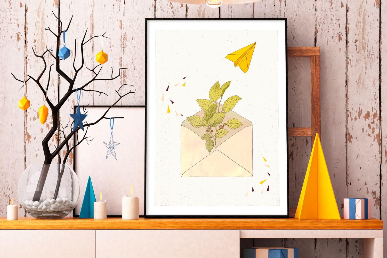 Letter from Home illustration by Carin Marzaro, orange. Personal artwork digital illustration, illustrazione digitale.