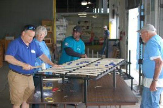Volunteer bed building event