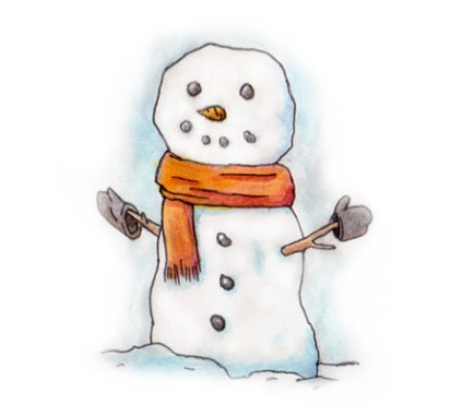 Xmas watercolours - Snowman