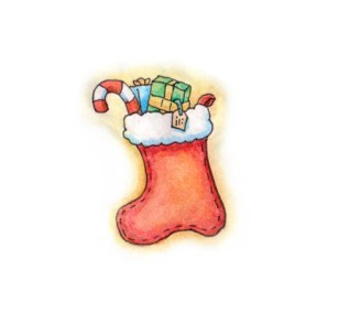 Xmas watercolours - Xmas Stocking
