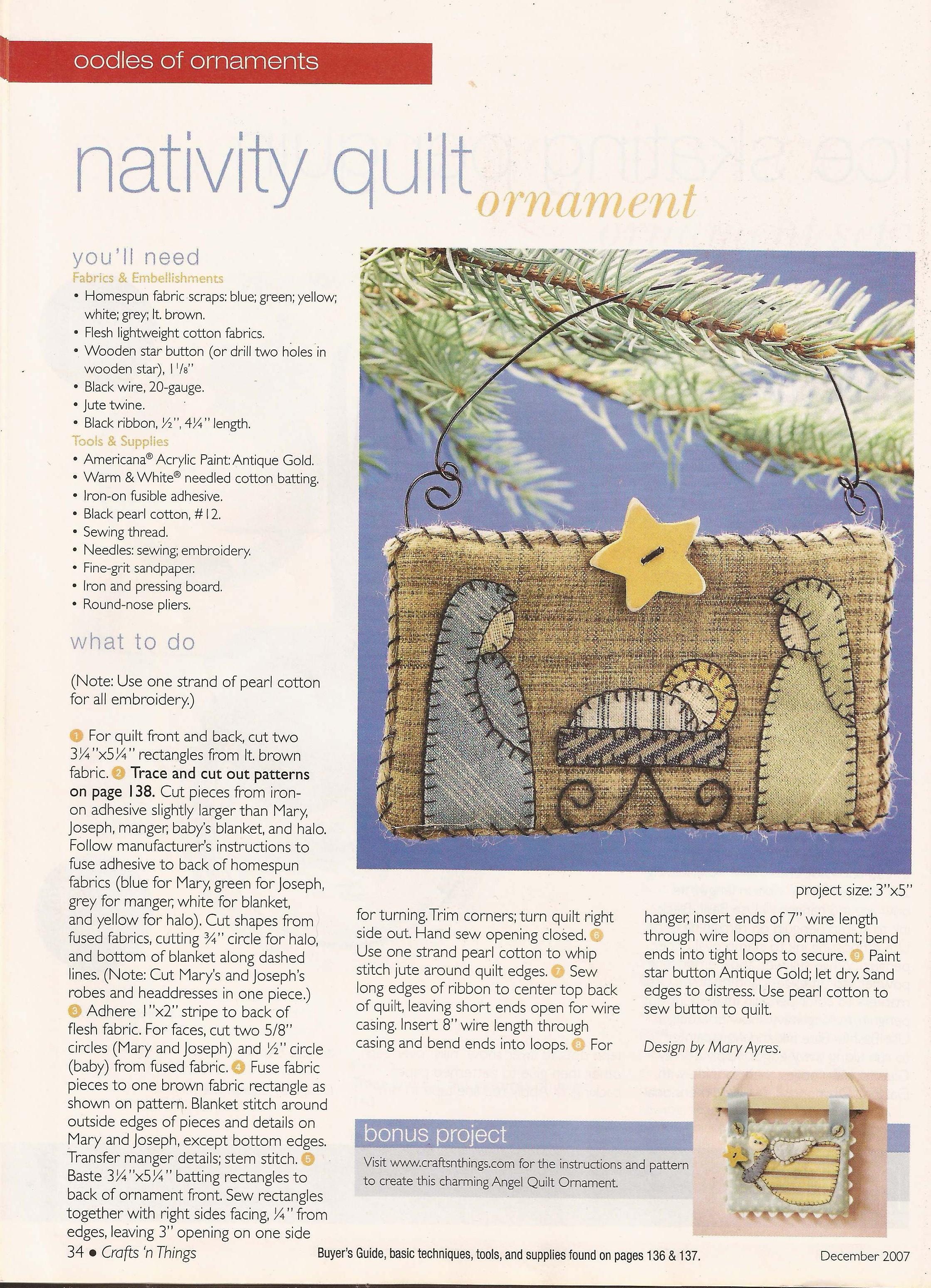 Nativity Quilt Ornament 2 238 3 096 Pixels