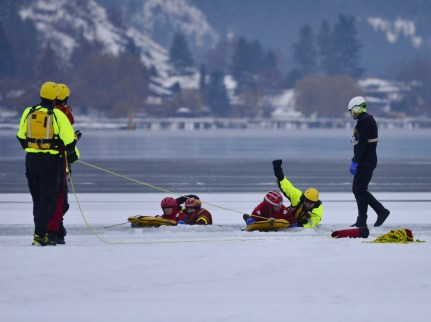 Vernon Search and Rescue practice at Kin Beach, Okanagan Lake, Vernon, BC