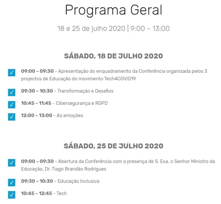Programa Conferência Educação Tech4Covid