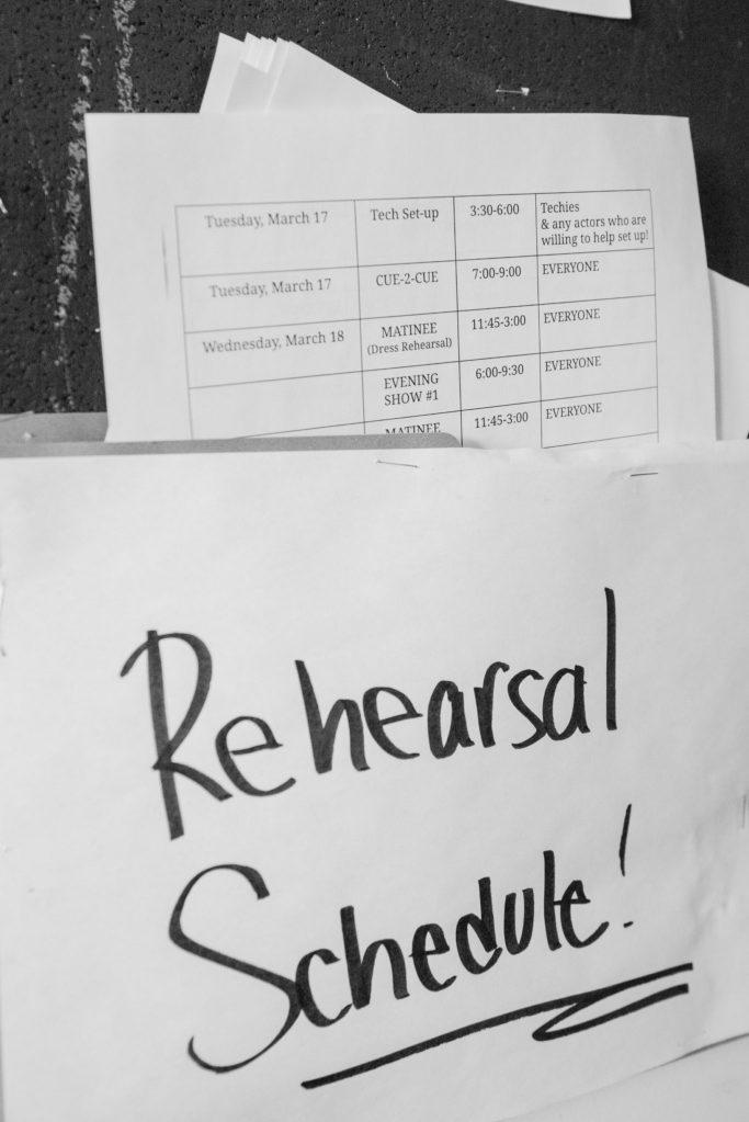 Rehearsal schedule Documentary Photo Essay