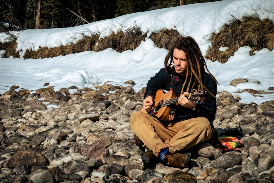 Guitar player Rocky Mountains lifestyle photos
