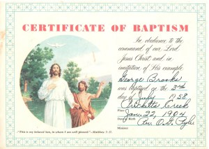 Pap's baptism - less than two months after Tarzan's death. Once committed, he was serious about it.