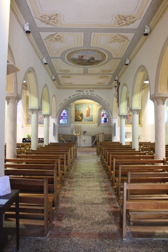 Inside of Saint Pancrase church in Yvoire France