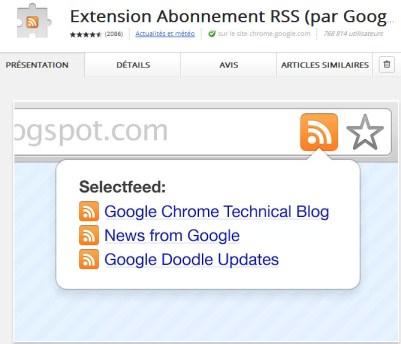 Abonnement RSS (par Google)