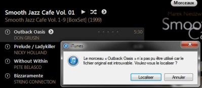 """«impossible d'utiliser le morceau """"untel""""; le fichier original est introuvable. Voulez-vous le localiser?"""