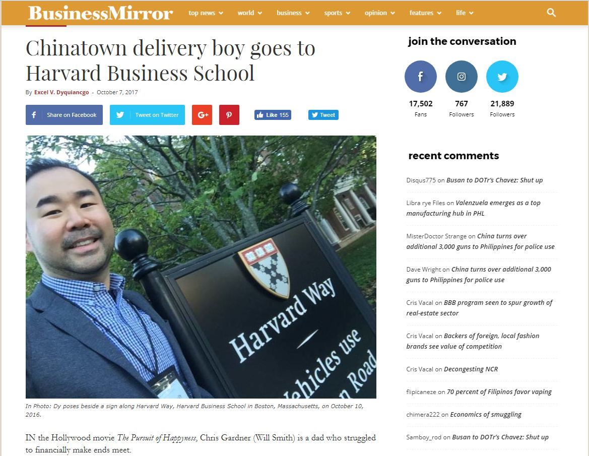 Business Mirror Carl Dy Delivery Boy to Harvard