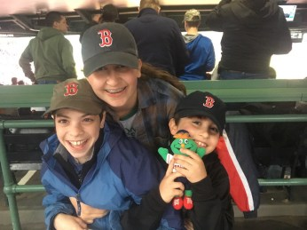 Last night, as a surprise, Lila was taken to the Red Sox game with her cousins. That's our beloved Cole on the left, and her brother Cal on the right.