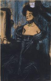 Dama del tocador - 1900 - Carbó, pastel, llapis Conté sobre paper - 26 × 16 cm - Col·lecció privada