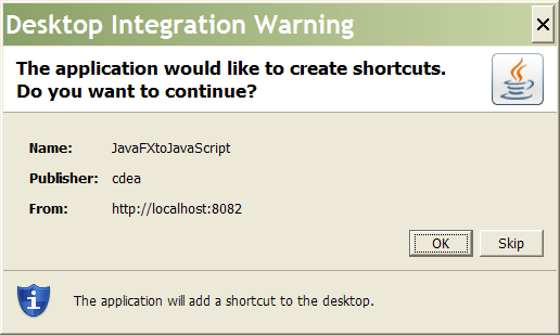 Create short-cut dialog